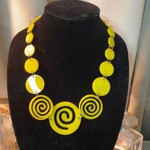 Yellow Swirl 1970s Vintage Yellow Plastic Necklace